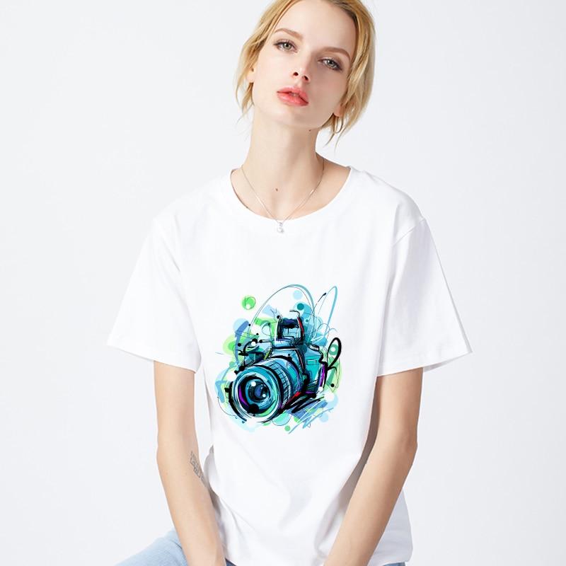 Harajuku Camiseta cuello redondo de manga corta blanco Tops ropa femenina camiseta mujeres Cámara impresa a mano 2019 nueva camiseta de verano