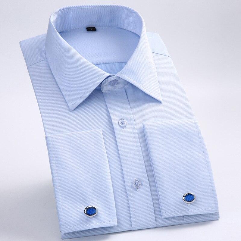 Camisa con gemelos franceses para hombre, novedad de 2019, camisa a rayas para hombre, camisas informales de manga larga para hombre, camisas ajustadas con puños franceses