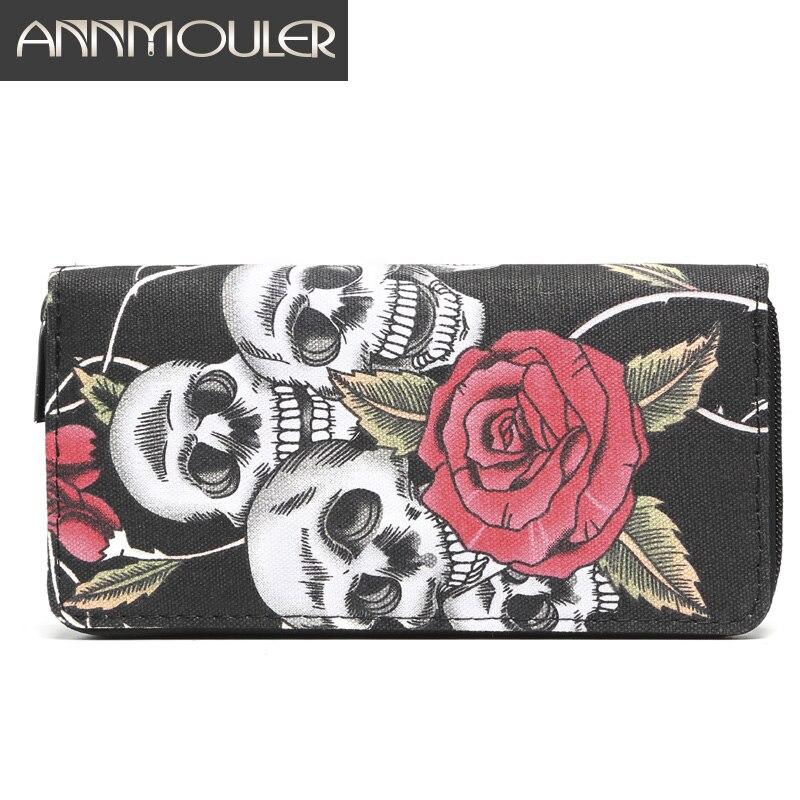 Annmouler marque femmes portefeuilles grande taille porte-carte s toile longue sac à main crâne et Rose fermeture éclair imprimée porte-carte pochettes