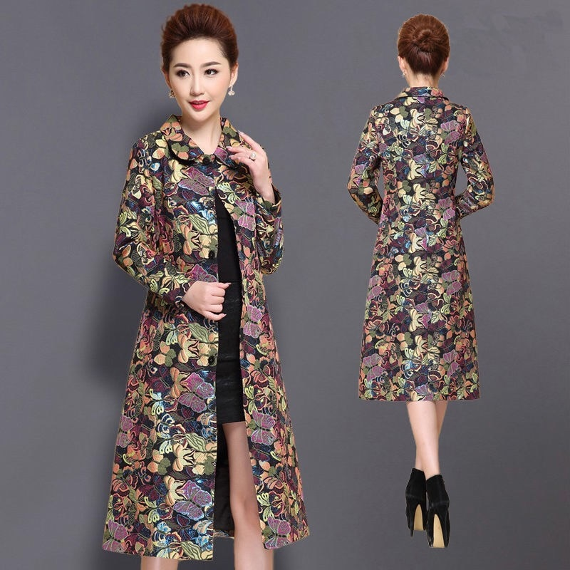 Invierno otoño mujer femenina delgada 4xl 5xl Dobby flor color elegante largo Trench Coat, primavera abrigo de mujer Cardigan Trenchcoat