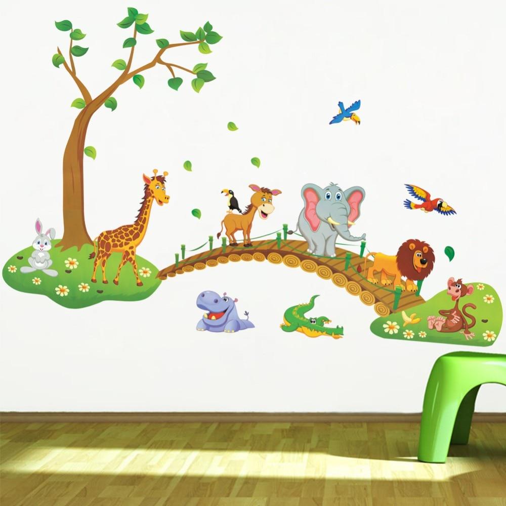 % 3D Cartoon Jungle wild animal tree bridge lion Giraffe elephant birds flowers wall stickers kids room living room home decor