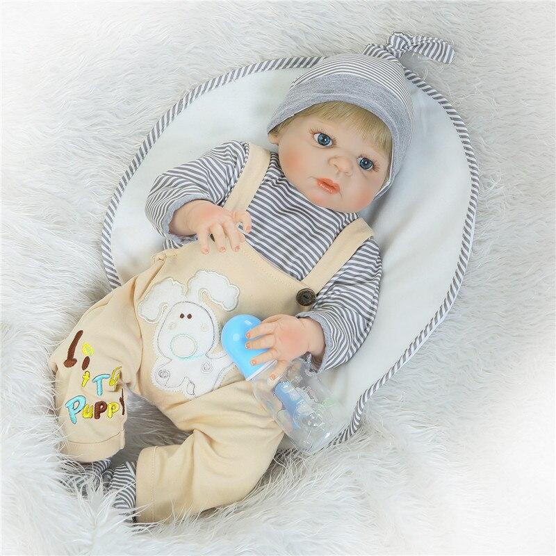 """22 """"bonecas reborn silicone de corpo inteiro do bebê bonecas reborn menino menina bebê recém-nascido presente bebe renascer bonecas reais peruca de cabelo loiro"""