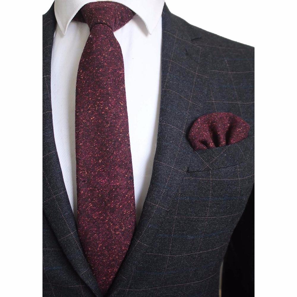Ricnais 8cm Wool Necktie Solid Plaid Tie For Men Quality Cashmere Tie and Handkerchief Cravats Set Suit For Wedding Party