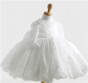 Winter White Newborn baby girl lace christening baptism gown,1 year girl baby birthday dress,thanksgiving wear