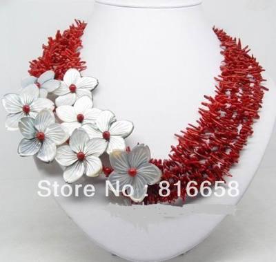 الساحرة! المرجانية الطبيعية الأحمر شل زهرة قلادة