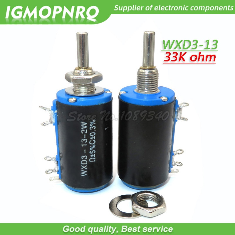2 шт. WXD3-13-2W 33K ohm WXD3-13 2 Вт otary боковой поворотный многооборотный потенциометр с проволочной обмоткой IGMOPNRQ