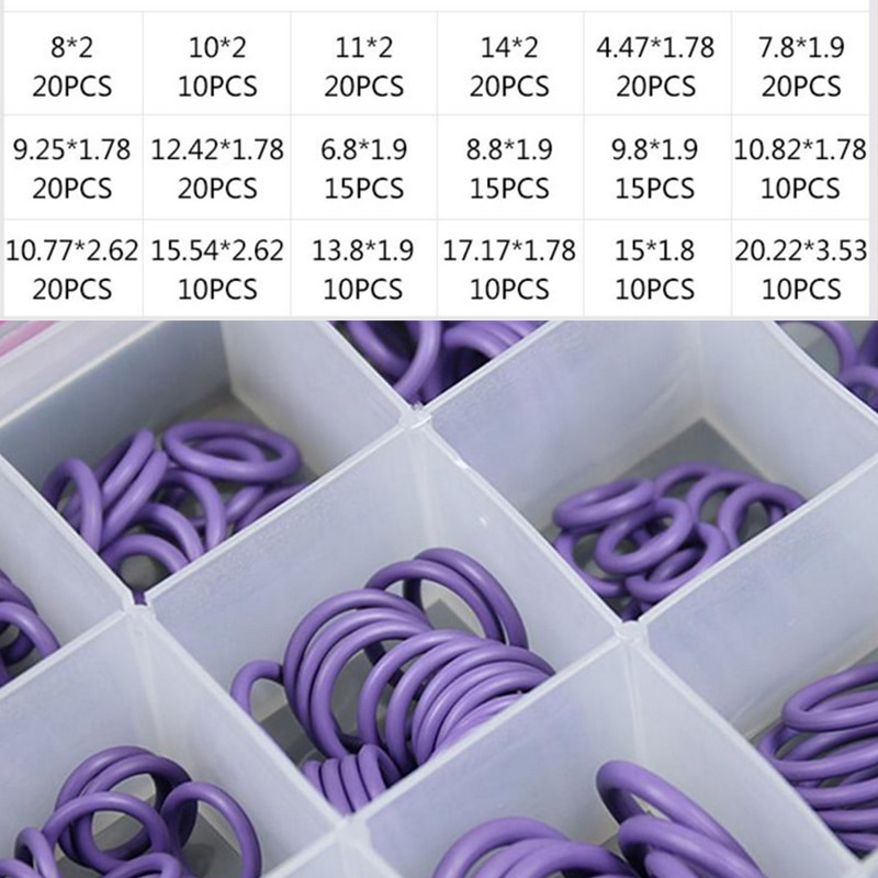 O anel conjunto kit de vedação r134a r12 hnbr borracha o-rings sortimento para carro automotivo ar condicionado a/c ferramenta de reparo do sistema