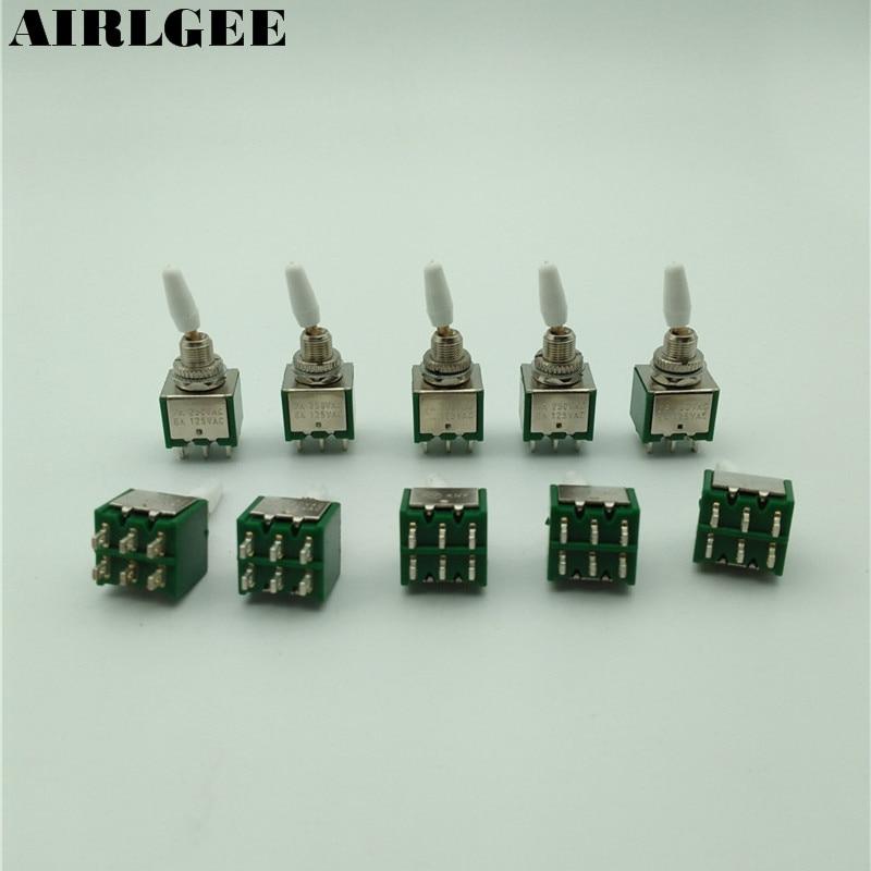 10 Uds 2A/250VAC 2P2T DPDT ON/ON 2 posiciones 6 pines interruptores de palanca verde