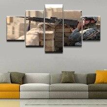 Peinture murale toile imprimée   Affiche de peinture dart murale, décoration de maison pour pistolet de Machine à 5 panneaux, design Cuadros moderne pour salon