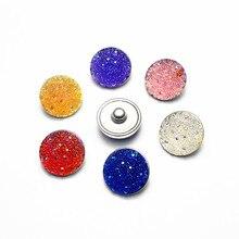 Wholesale 20pcs/lot Multicolour Rose Resin Snap Button Charms Fit 18mm/20mm DIY Snap Bracelet Necklace Jewelry