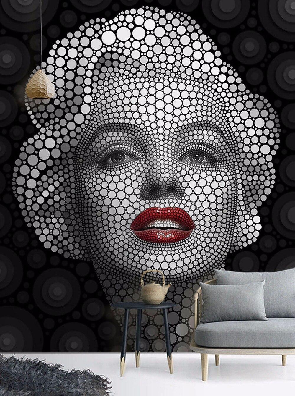 Pintura Mural creativa 5D/8D Marilyn Monroe en blanco y negro para sala de estar, papel tapiz 3d, murales 3d, Mural de pared