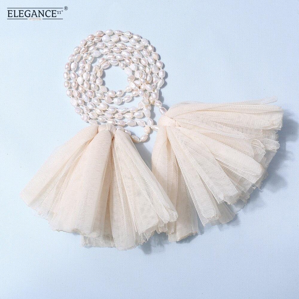 Badu barroca perla de agua dulce irregular suéter collar largo con cuentas de encaje bohemio collares de flores para las mujeres al por mayor