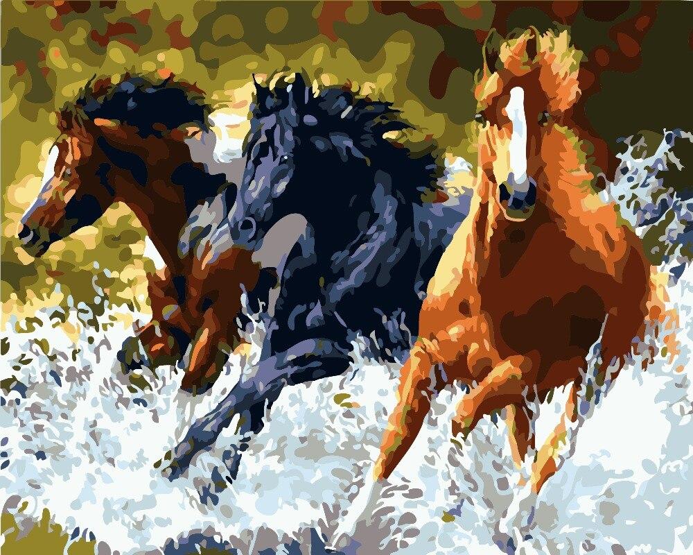 Бескаркасная картина на стену, Акриловая картина по номерам, абстрактная картина маслом, уникальная краска для подарков по номерам, лошадьми 40х50см