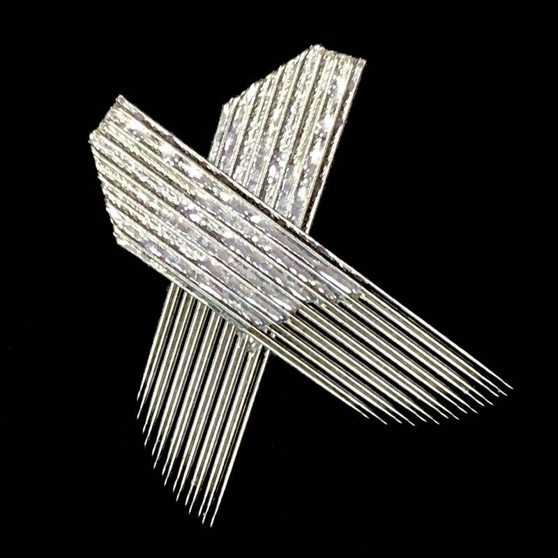 100 piezas agujas de doble fila hojas de pluma Manual 2 filas 15 pines Microblading maquillaje permanente tatuaje de cejas bordado 3D