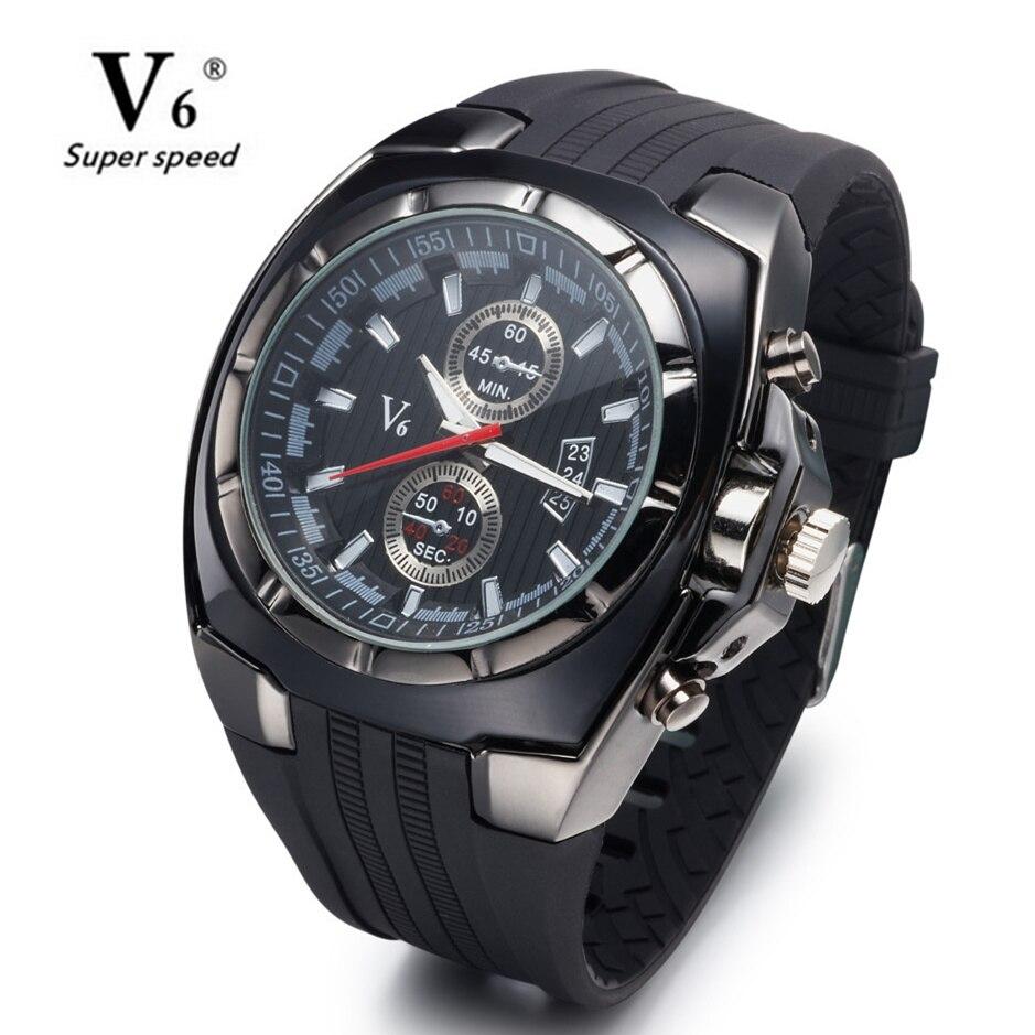 Часы V6 с большим круглым циферблатом, черные, силиконовые, кварцевые, аналоговый дизайн, мужские спортивные часы, спортивные наручные часы, 3 вида цветов