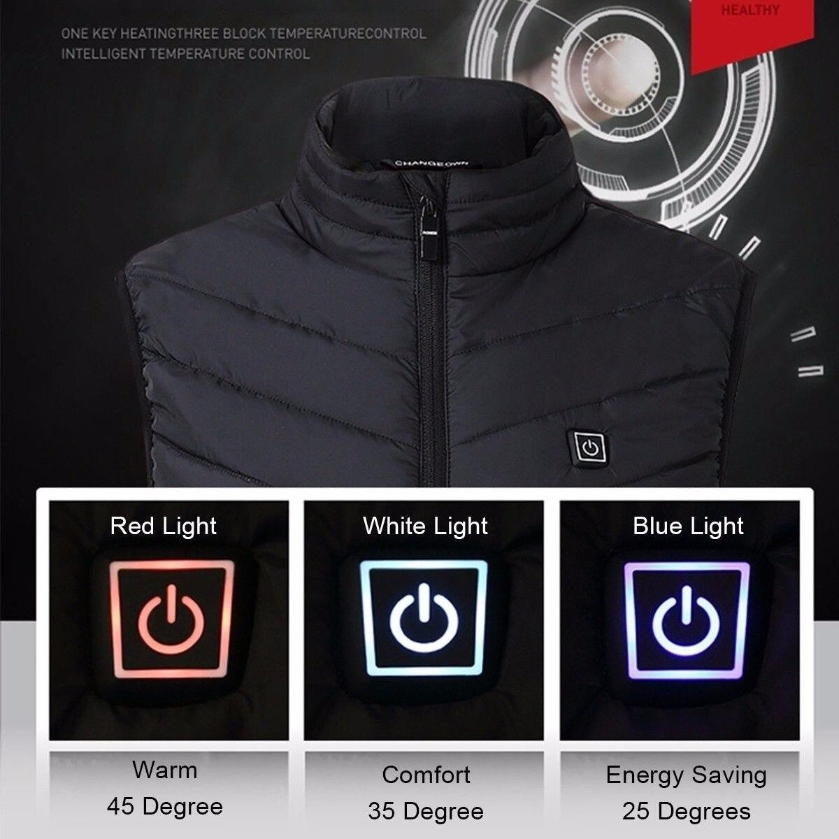 ¡Novedad de 2019! Chaleco de invierno para hombre y mujer con USB, chaleco eléctrico calentador térmico, chaleco chamarra sin mangas, ropa para entrenamiento al aire libre