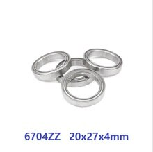 100pcs/lot 6704ZZ 6704 ZZ Bearing shielded 20x27x4mm Thin Tube Deep Groove Ball Bearing 20*27*4mm 6704Z