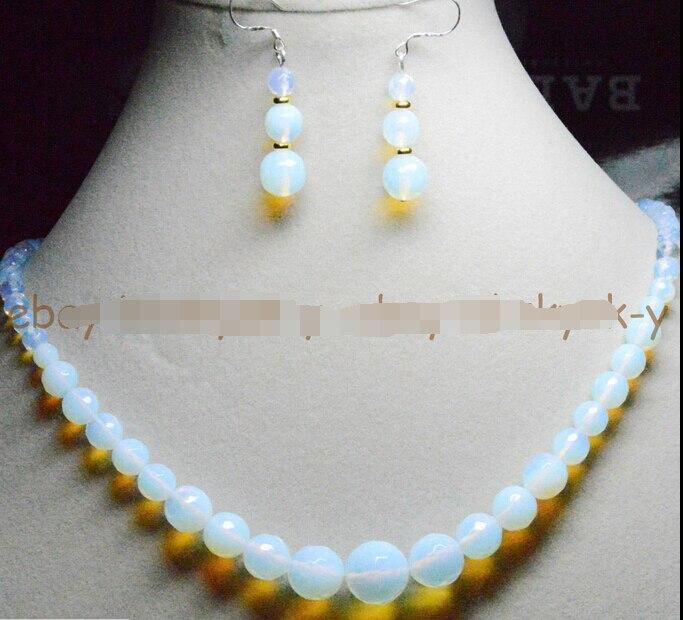 Nuevo estilo gran oferta * 6-14mm blanco facetado Sri Lanka piedra lunar redondo conjunto de pendientes collares joyería de boda de moda
