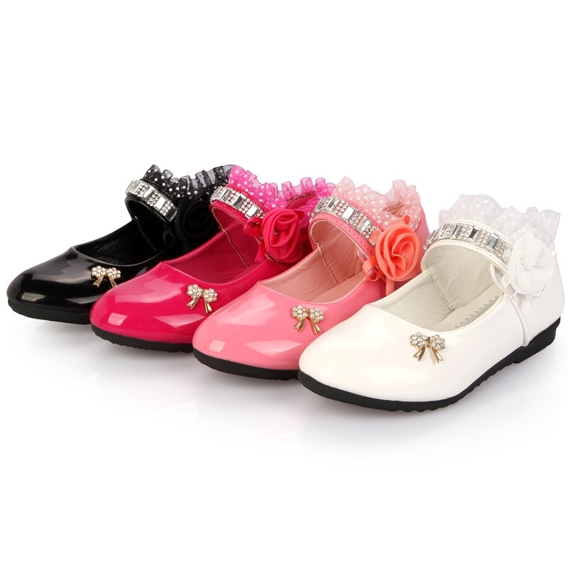 New Rose pink white black Children princess shoes Baby Girls Shoes flowers bows Rhinestone Girls Leather Shoes Kids Party shoes ssai kids girls princess shoes lace flowers girls leather shoes children dance dress shoes baby girls wedding party shoes