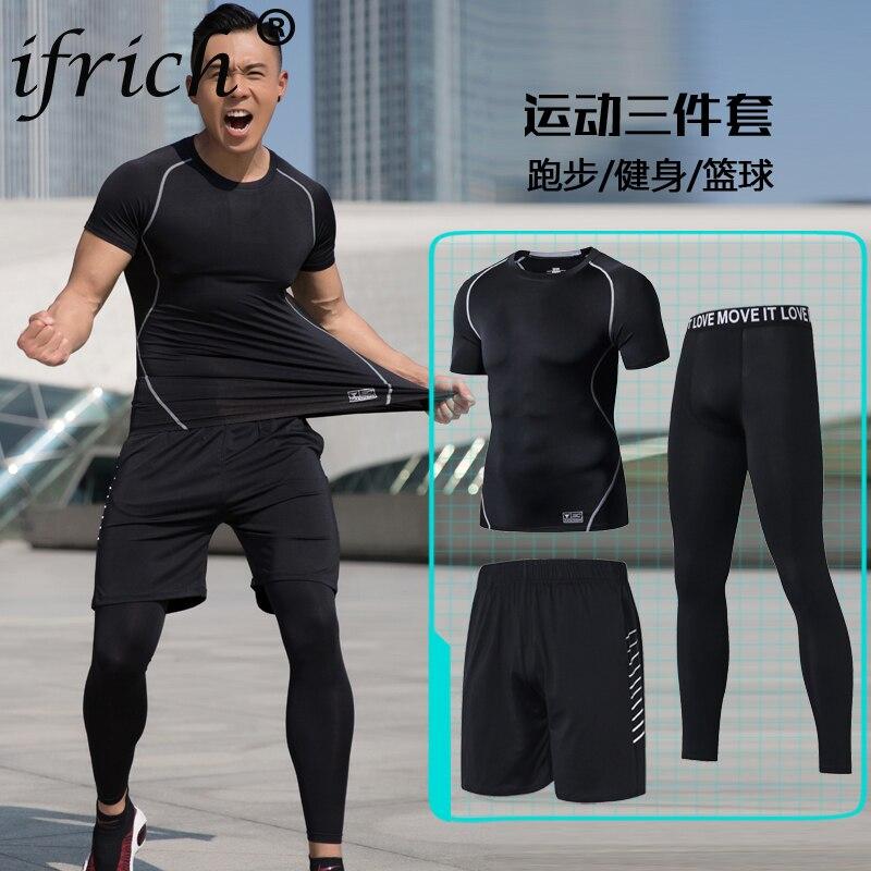 Chándal ajustado de secado rápido de compresión para hombre, conjunto de pantalón verde y negro de camisa de manga corta de 3 uds para hombre, conjunto de ropa de cuello redondo para niño