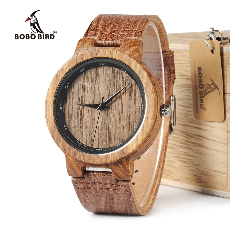 BOBO BIRD WD22 деревянные часы с зеброй, мужские часы с кожаным ремешком, брендовые дизайнерские кварцевые часы для мужчин и женщин в деревянной коробке