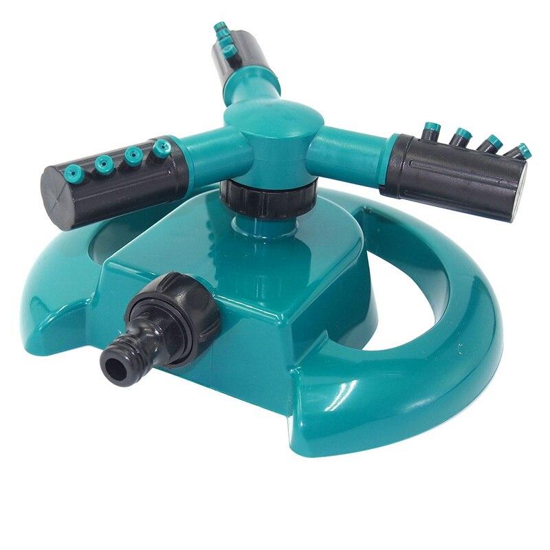 1 Uds. Rociador de 3 boquillas de plástico con rotación automática de 360 grados, riego del jardín por rotación automática