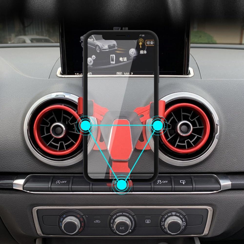 Гравитационный вентиляционный Автомобильный держатель для телефона для Audi A3 S3 кронштейн для iPhone Samsung Huawei мобильный телефон GPS Держатель с п...