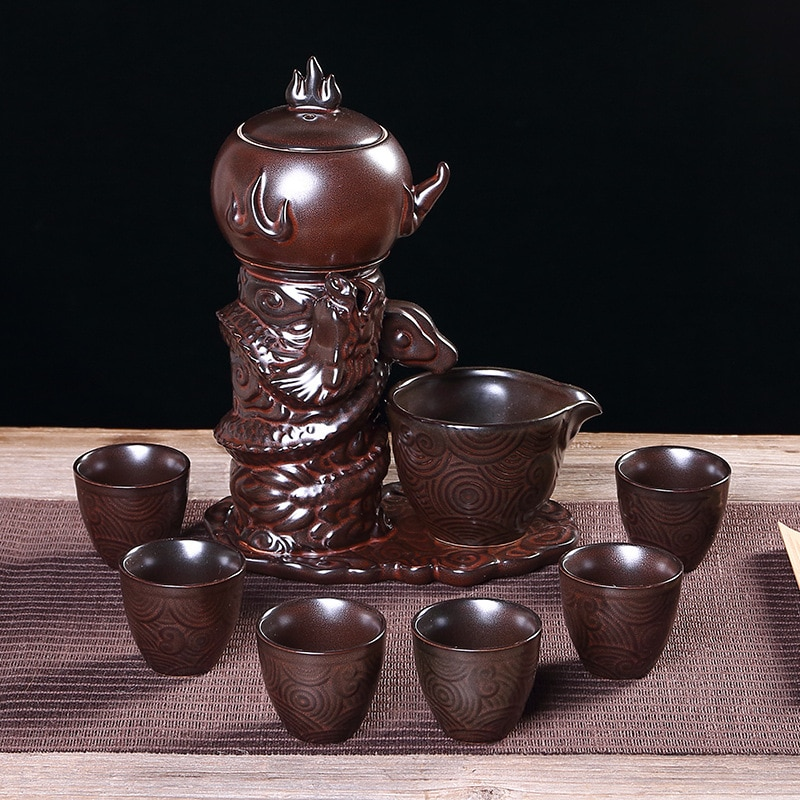 شحن مجاني الإبداعية عالية الجودة الخام الفخار طقم شاي التلقائي الكونغ فو طقم شاي حفل الشاي طقوس هدية المصنع مباشرة بيع