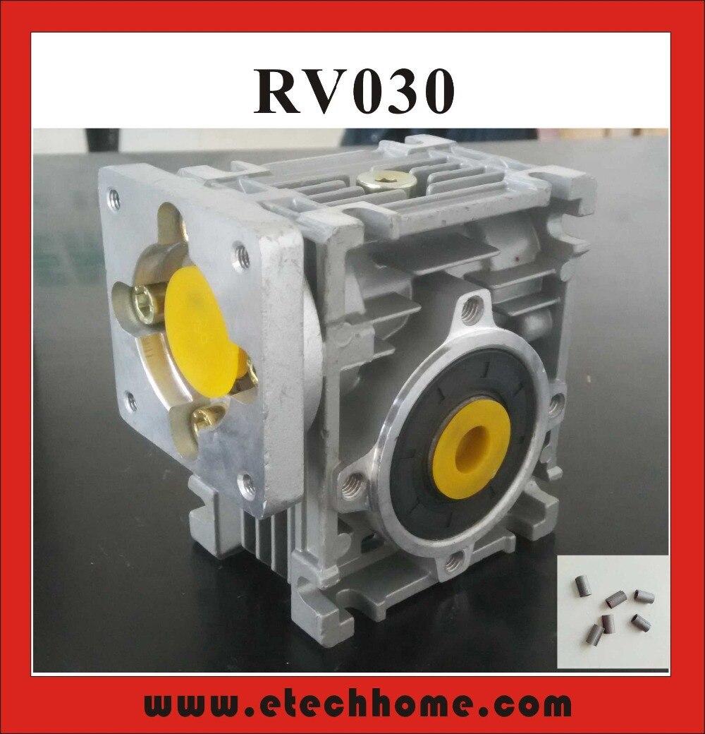 5:1 a 80:1 reductor de gusano RV030 reductor de velocidad de caja de cambios de gusano con adaptador de manguito de eje para eje de entrada de 8mm del Motor Nema 23