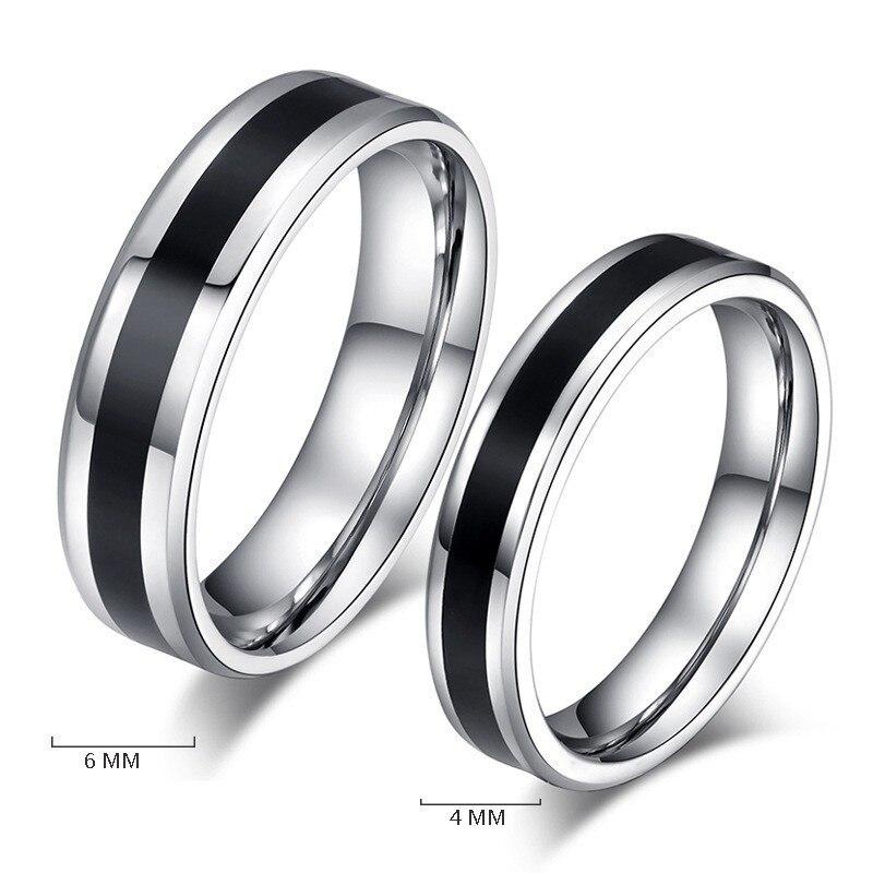 Anillo de acero inoxidable 316L, negro plateado, diseño sencillo, anillo de banda de boda para parejas para mujeres y hombres, anillo Popular, joyería de moda para fiesta