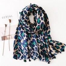 Écharpe en coton imprimé léopard pour femmes   Écharpe élégante, châle en coton pour femmes, écharpes chaudes dhiver pour femmes Pashmina [3575