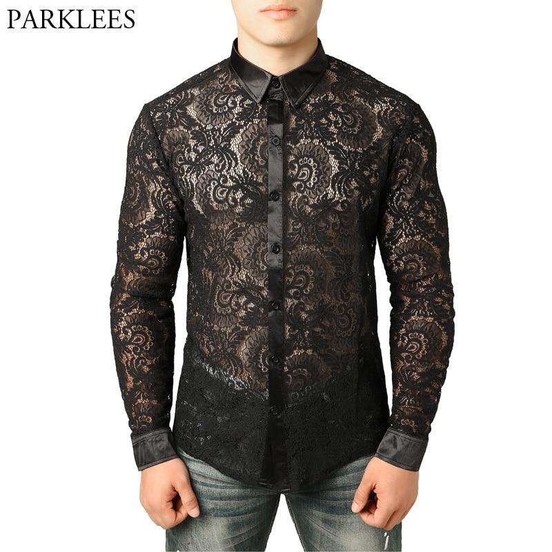 Camisa de malla transparente para hombre, de manga larga, con encaje, transparente, 2XL