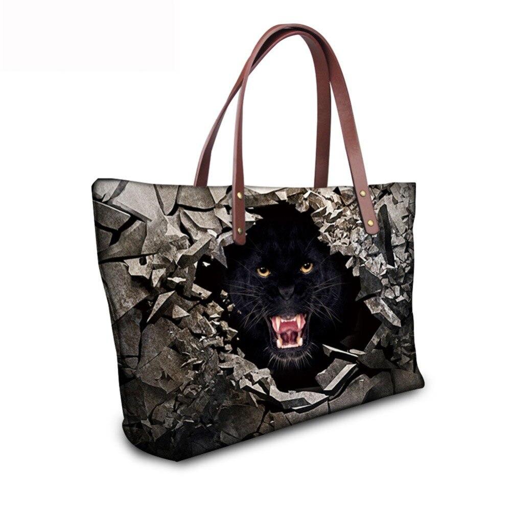 Noisydesigns 2018, bolso de moda para mujer, con holograma, piedra triturada, agujero, animal salvaje, estampado, bolso grande para mujer, bolso de compras para chicas, señoras f