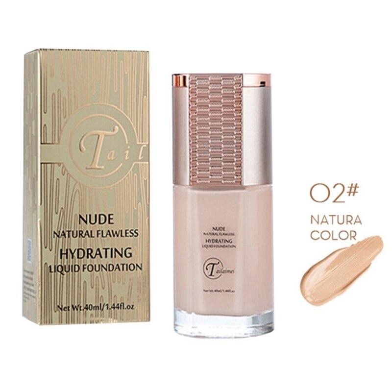 Tapa líquida poros Base de maquillaje de larga duración fácil de llevar crema correctora de aceite Base 40ml