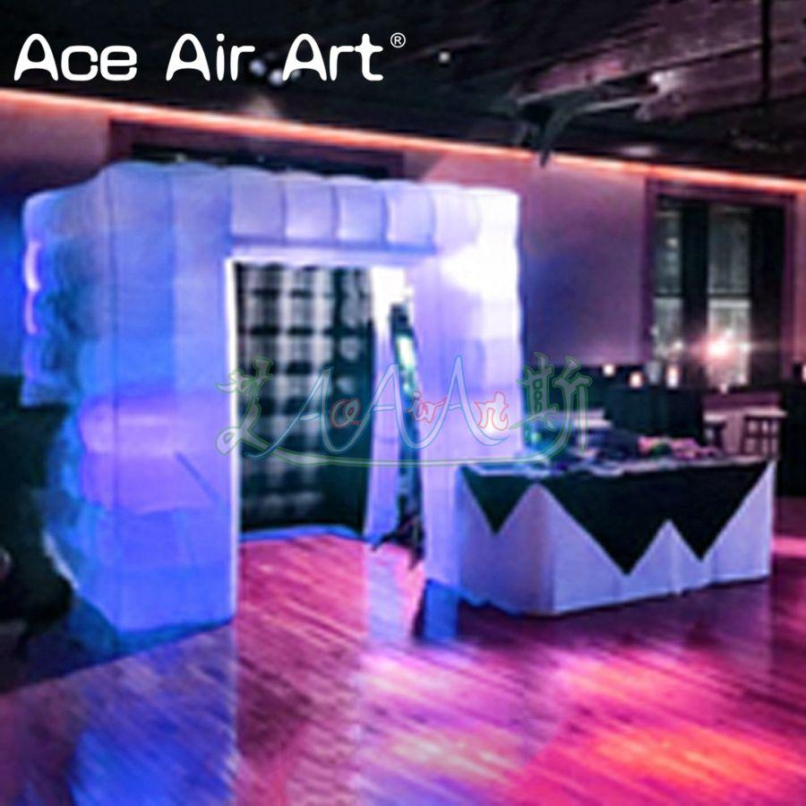 Interior negro blanco exterior único led colorido inflable telón de fondo para fotomatón, divertido Cubo de fotos tienda para fiesta