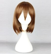 Peluca Chara Frisk, Marrón pelo sintético resistente al calor, pelucas Cosplay Undertale + gorra de peluca