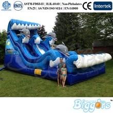 Glissière bleue gonflable de cour avec la glissière deau de vague docéan à vendre le ventilateur inclus