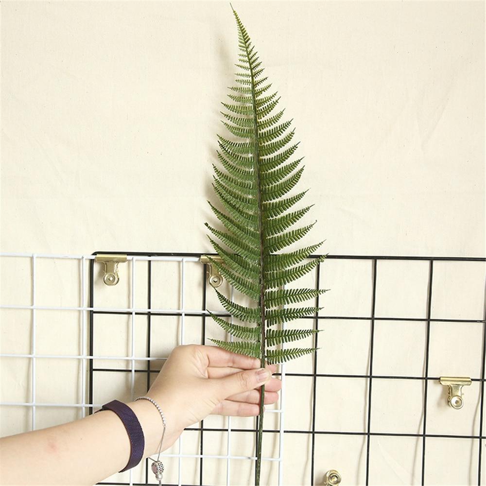 5 hojas de helecho de girasol planta de simulación de flores de plástico hojas verdes hierba de helecho DIY decoración mesa boda decoración