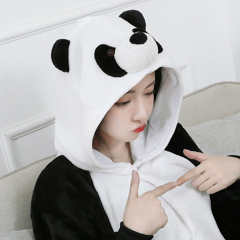 3D Panda Onesie For Adults Kigurumi Pajamas Men Women Animal One-Piece Suit Pijama Sleepwear Halloween Cosplay Costume Bodysuit
