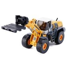 Alliage moulé sous pression chariot élévateur chargeur camion 4 roues pelle Bulldozer ascenseur véhicule 150 modèle Collection jouets pour enfants cadeau de noël