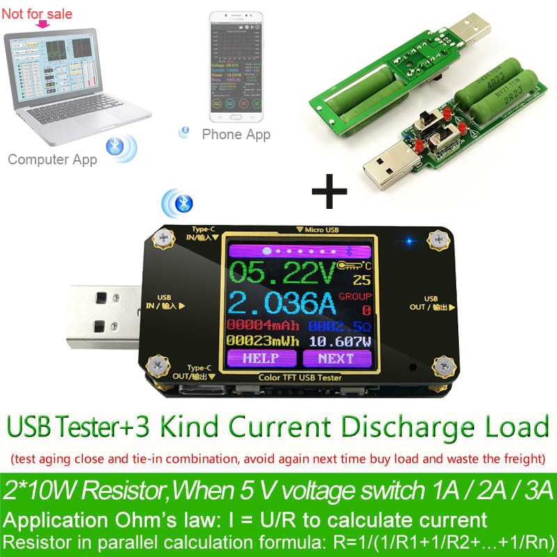TFT Color USB Type-c tester Wireless Bluetooth DC Digital voltmeter current voltage meter detector power bank charger indicator