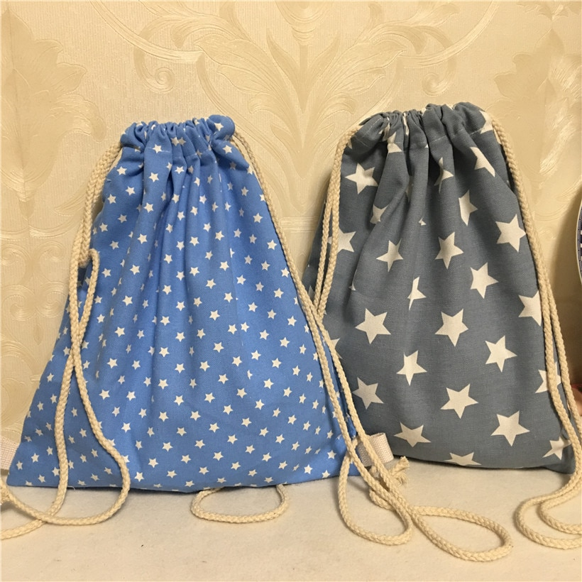 YILE 1pc Cotton Canvas Drawstring Travel Backpack Book Bag White Stars Blue Grey Base B8503-2