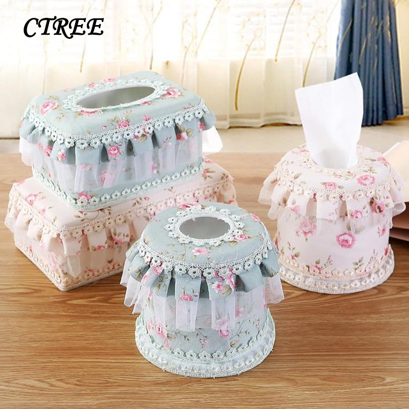 CTREE Square/Round Garden Lace Lace Fabric Roll Paper Tray Tissue Box Paper Towel Roll Decorative Paper Towel Storage Boxs C483