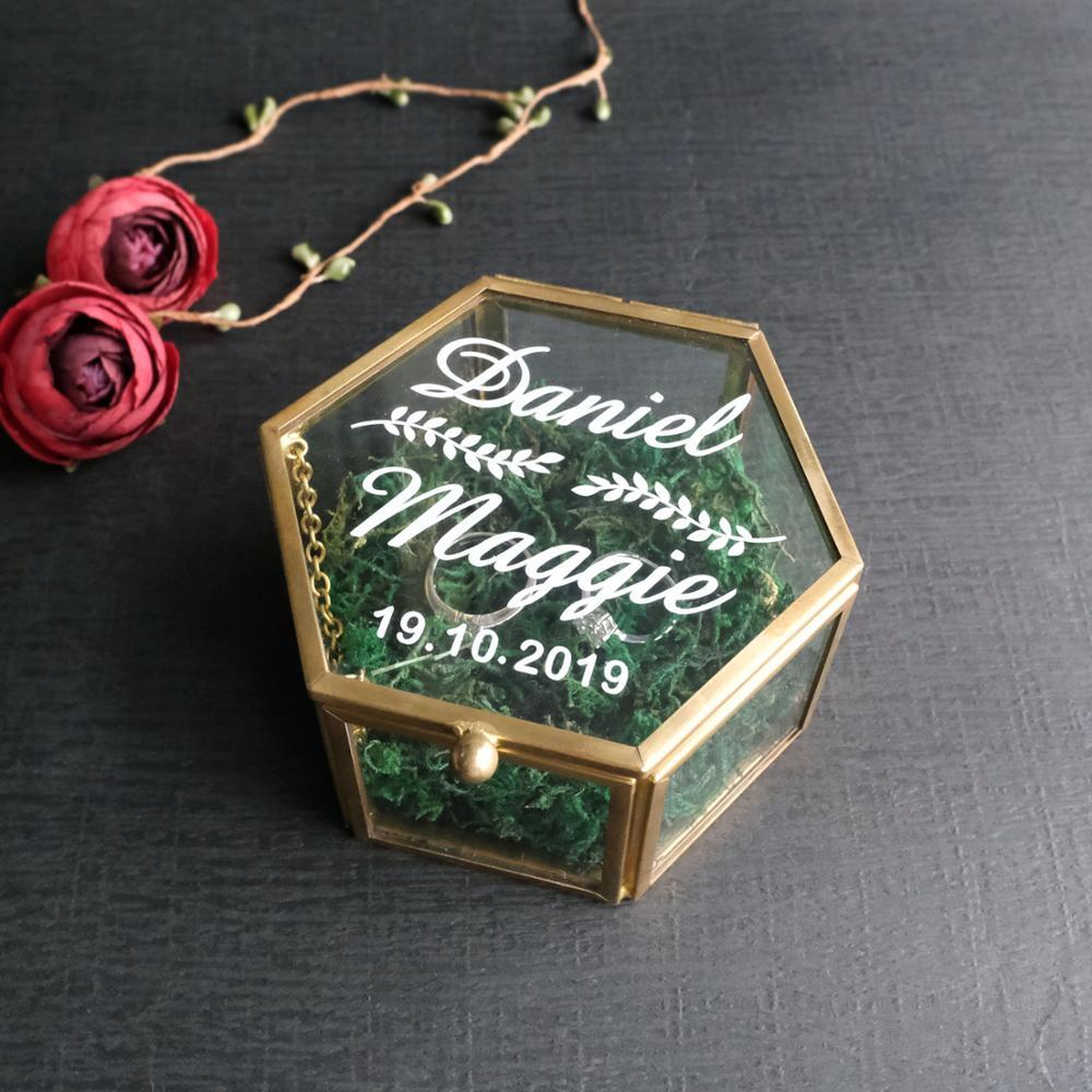Caja de anillo de cristal geométrica personalizada, caja de anillo personalizada, soporte de anillo de boda, caja de joyería, regalo de boda, regalo para dama de honor