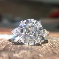 round moissanite engagement ring 5 to 8 carat df colorless lab diamond accent pear stones 14k white and rose gold wedding rings