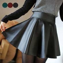 Femmes taille haute en cuir PU patineuse Mini jupe couleur unie Sexy jupes courtes plissées XRQ88