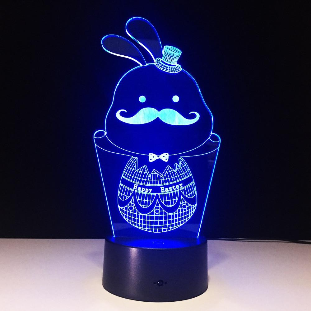 Conejo de pascua 3D figura Lámpara pequeña USB arte colorido lámpara LED cabecera boda creativo un bigote regalo para enviar a los niños amantes Z91