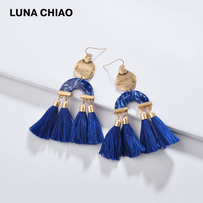 LUNA CHIAO INS Moda mujer joyería Mezcla Color Lucite acrílico resina tablero algodón borla gota declaración pendientes