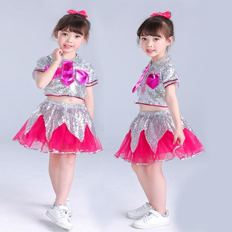 SONGYUEXIA Jazz vestido de baile tutú para niñas, traje de baile moderno, conjunto de lentejuelas para niños, ropa de actuación de porristas, Tops + falda