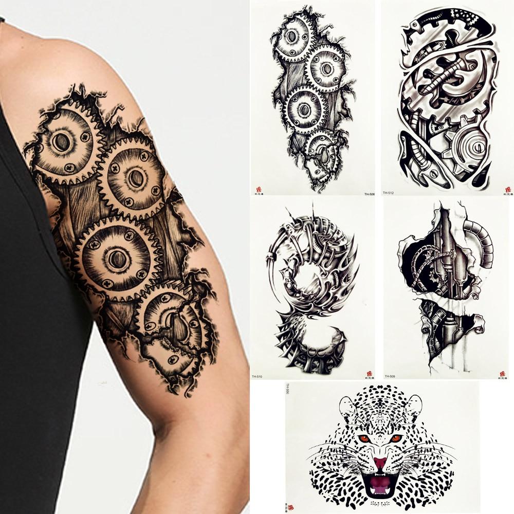 FANRUI robotique mécanique bras tatouage temporaire autocollant engrenage vis crayon croquis noir Tatoo Gap Body Art 3D faux tatouages pour hommes
